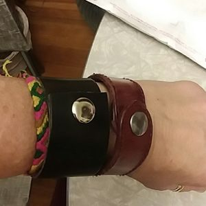 Bundle of 3 leather snap cuffs